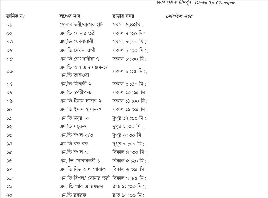 Dhaka to Chandpur